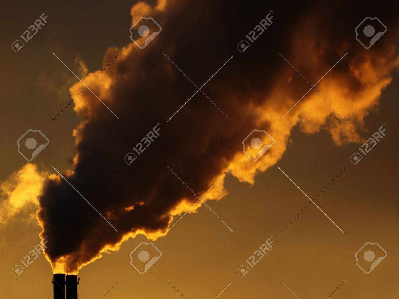 Dirty air pollution with a sunset on the background Stock Photo - 5105196