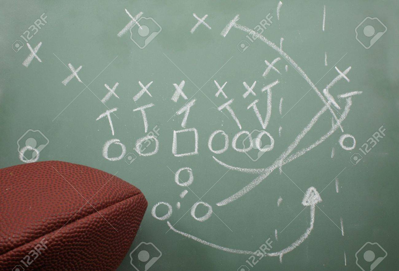 Football Sweep Play Diagram On A Chalk Board With A Football ...