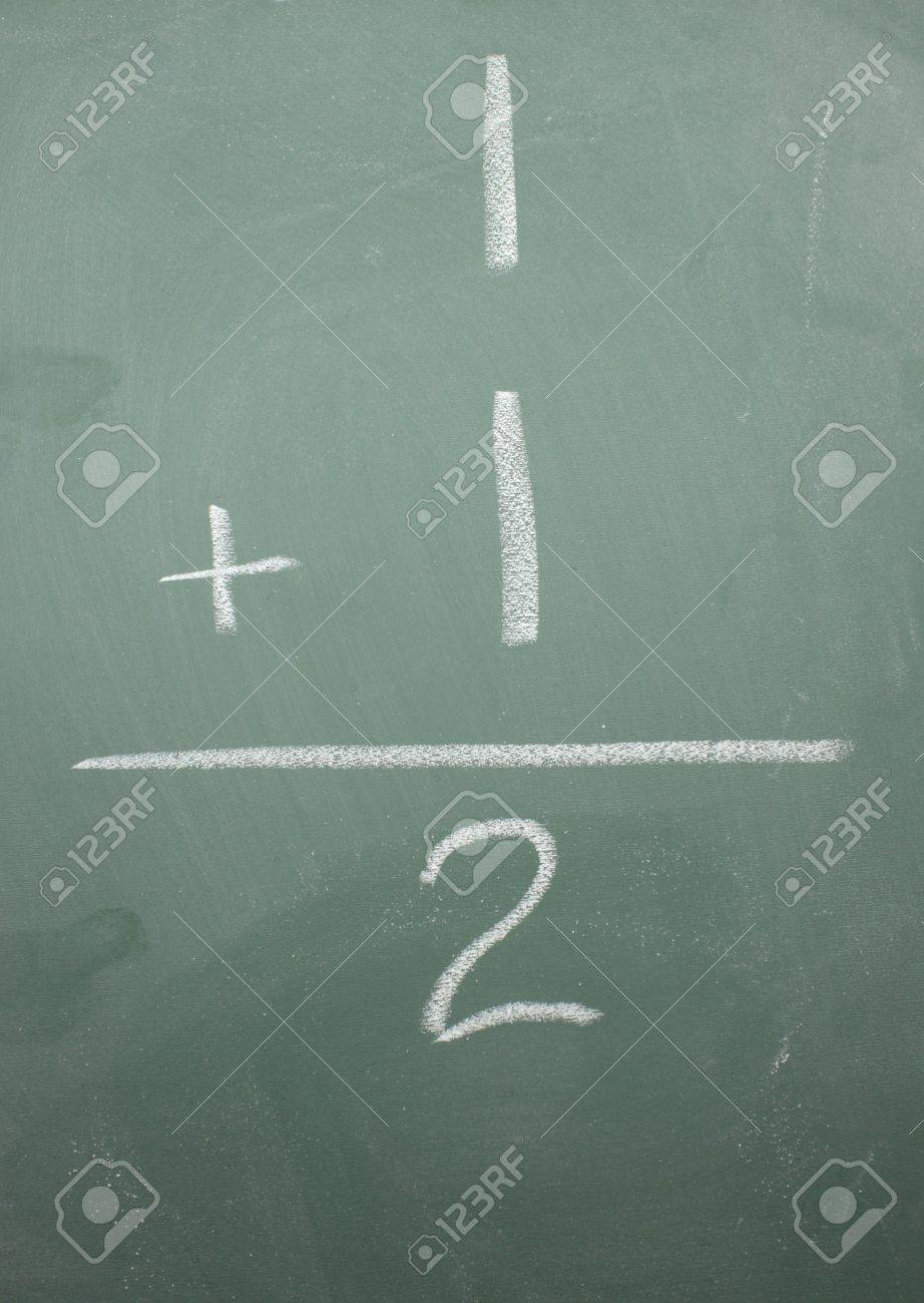 One Plus One Equals Two Math Problem On A Blackboard. Stock Photo ...