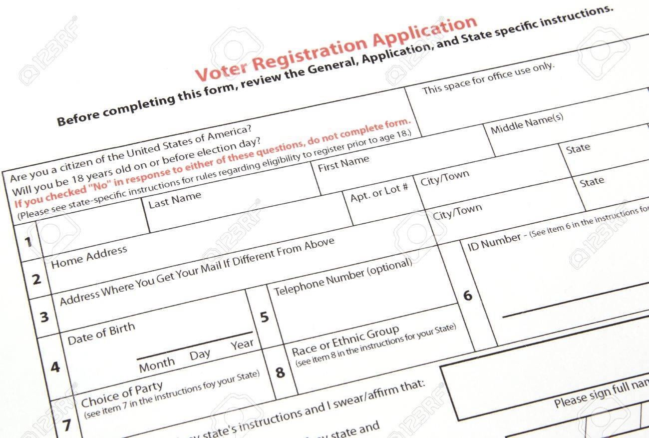 a united states voter registration application ready to be filled a united states voter registration application ready to be filled out stock photo 8648753