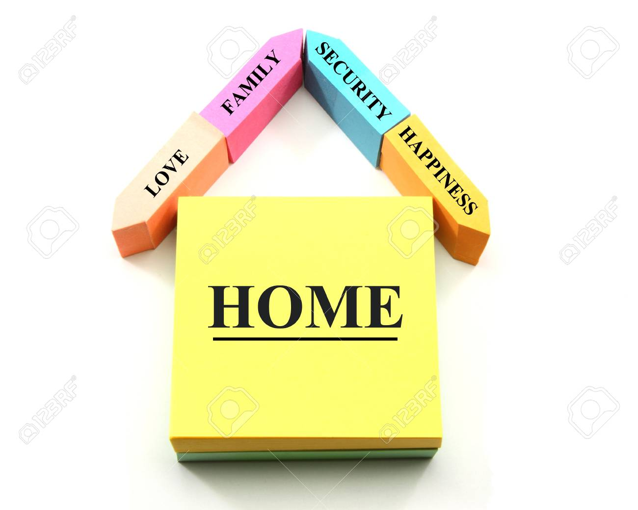 A colorful home or house concept made out of different shaped sticky notes with home, happiness, family, love, and security labels. Stock Photo - 8713005