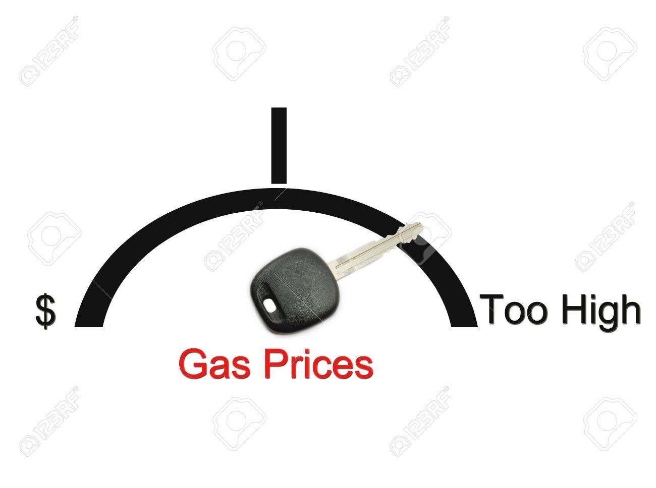 An automobile or car gas gauge with a key showing the concept of gas prices being too high. Stock Photo - 10726934