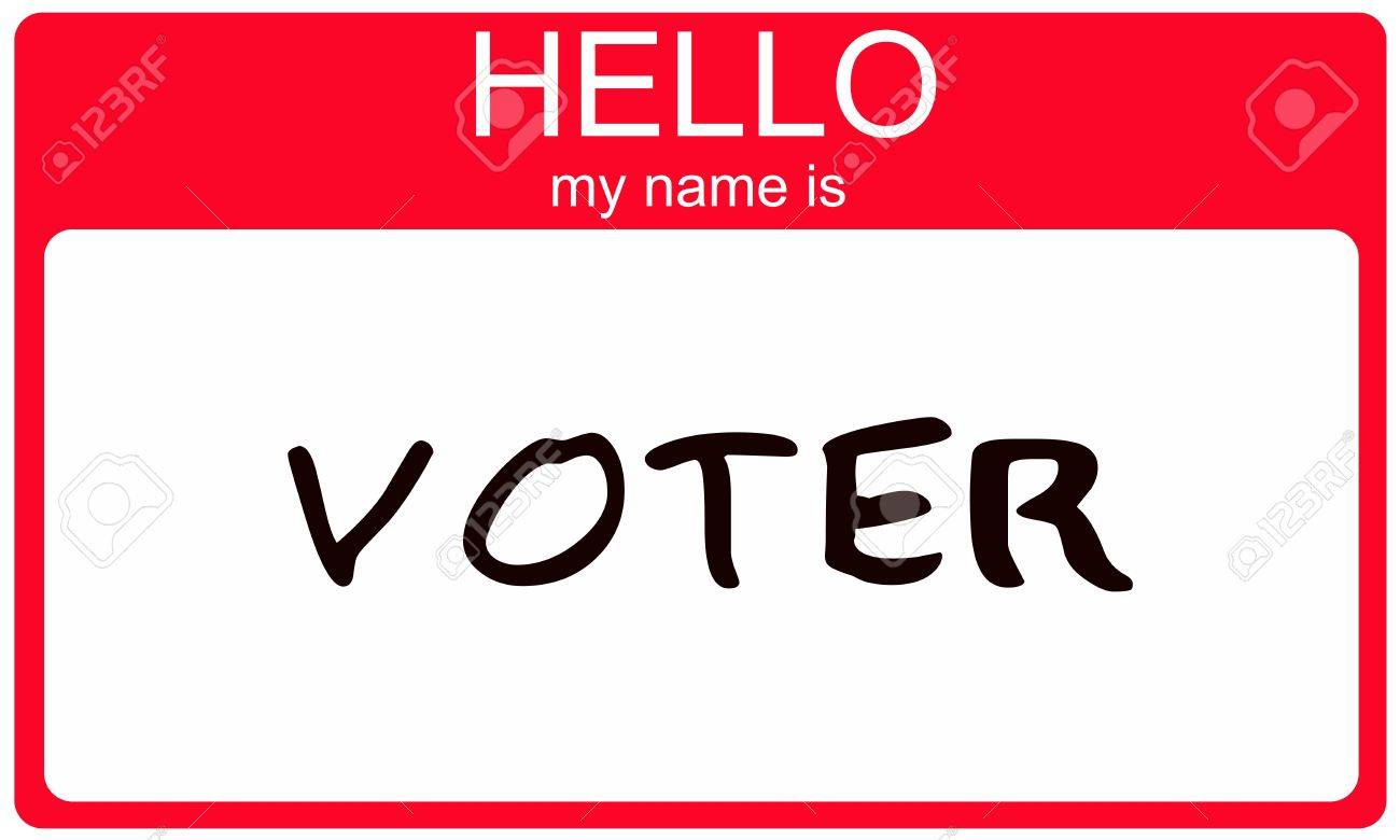 A red and white name tag with the words Hello my name is Voter making a great voting concept. Stock Photo - 11155219