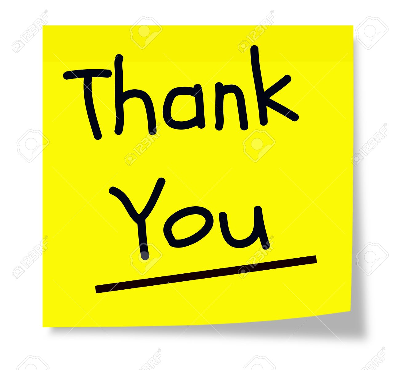 a square sticky yellow note pad with the words thank you written
