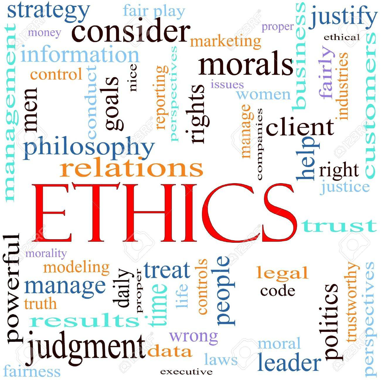 An illustration around the word Ethics with lots of different terms such as philosophy, relations, trust, manage, judgment, leader, politics, morals, justice, leader and a lot more. Stock Illustration - 11597727