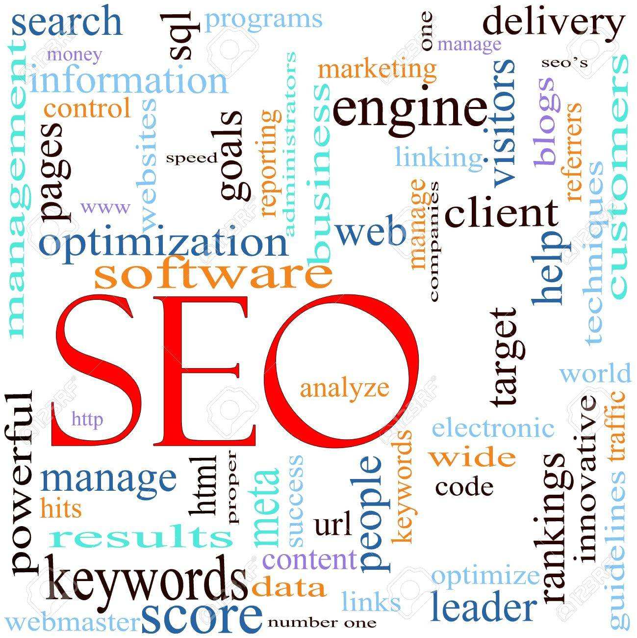 An illustration around the word / acronym SEO with lots of different terms such as search, engine, optimization, client, web, target, rankings, traffic, visitors and a lot more. Stock Illustration - 11597729