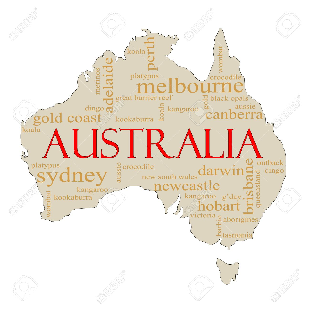 Australia Map Canberra.A Map Of Australia With Different Australian Terms Around It