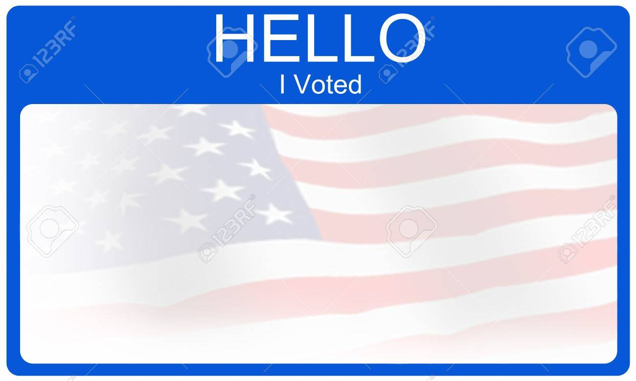 A blue red and white Hello I Voted name tag type sticker making a great voting or election concept. Stock Photo - 11804334