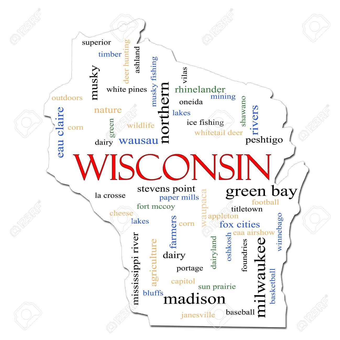 Eine Karte Wisconsin Wort Wolke Mit Großer Begriffe Wie Green Bay ...
