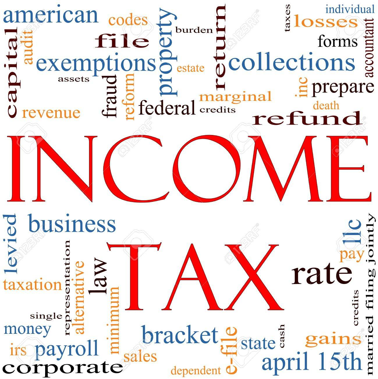 A word cloud concept around the words Income Tax with great terms such as April, refund, rate, bracket, file, prepare and more Stock Photo - 11968698
