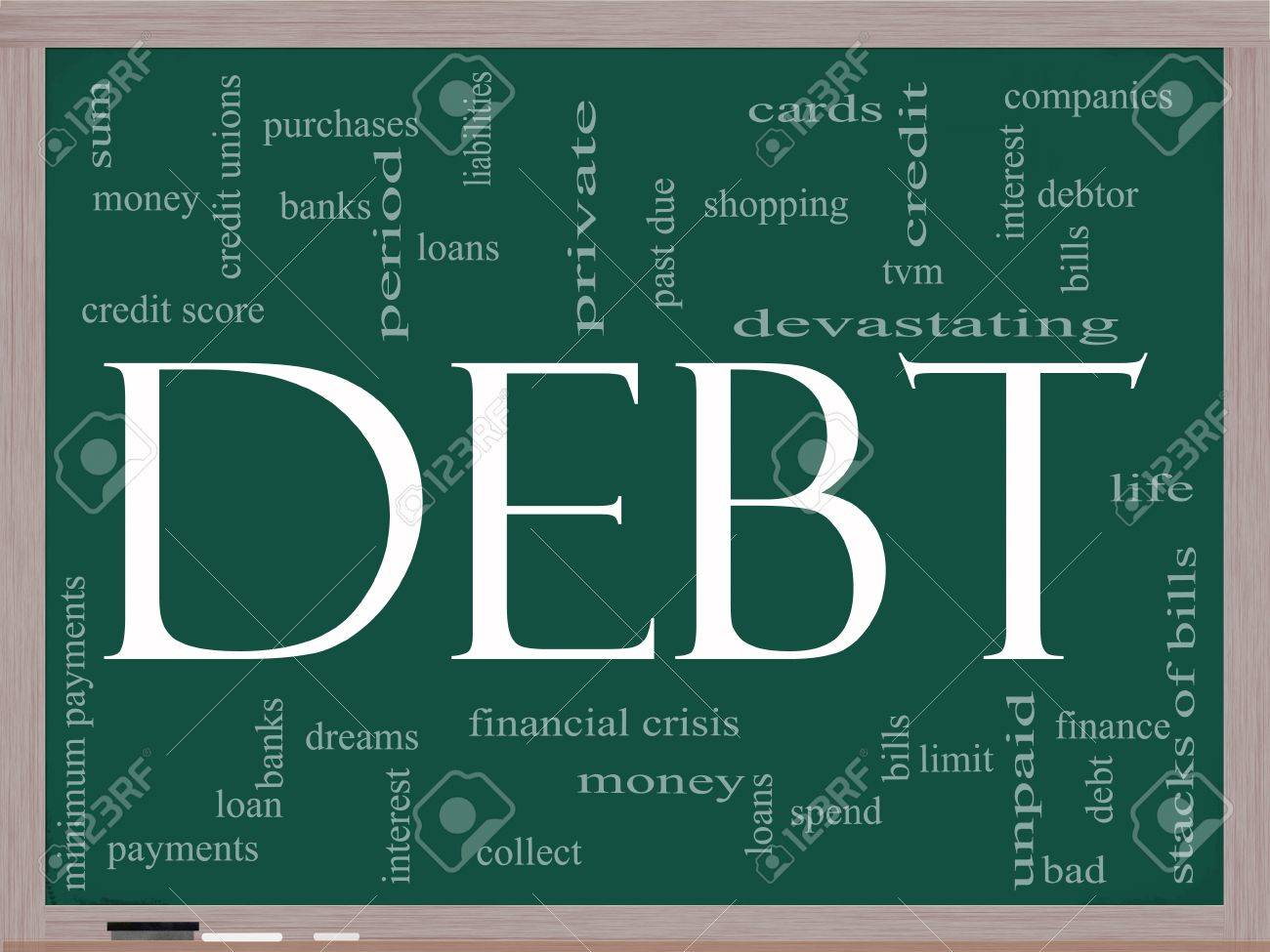 Debt Word Cloud Concept on a Chalkboard with great terms such as sum, money, financial, crisis, bills, limit, past due and more. Stock Photo - 11968693