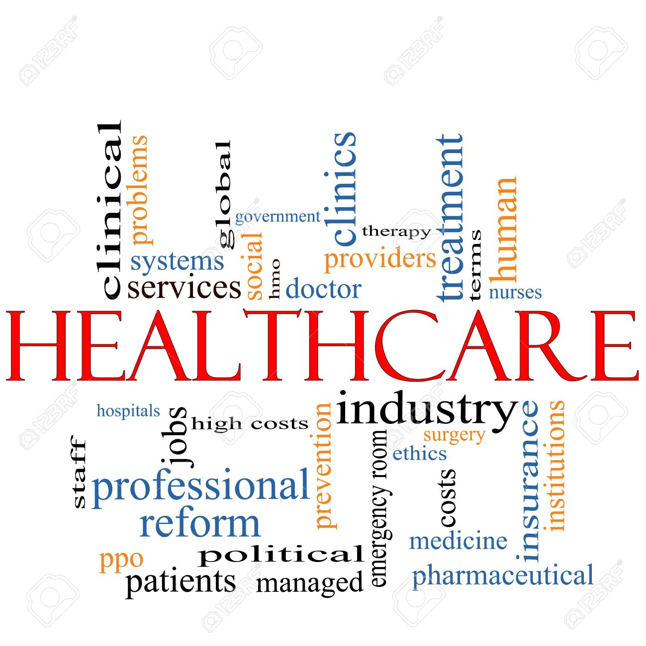 A Healthcare word cloud concept with terms such as reform, industry, insurance, hospital, doctor, nursers and more. Stock Photo - 12336513
