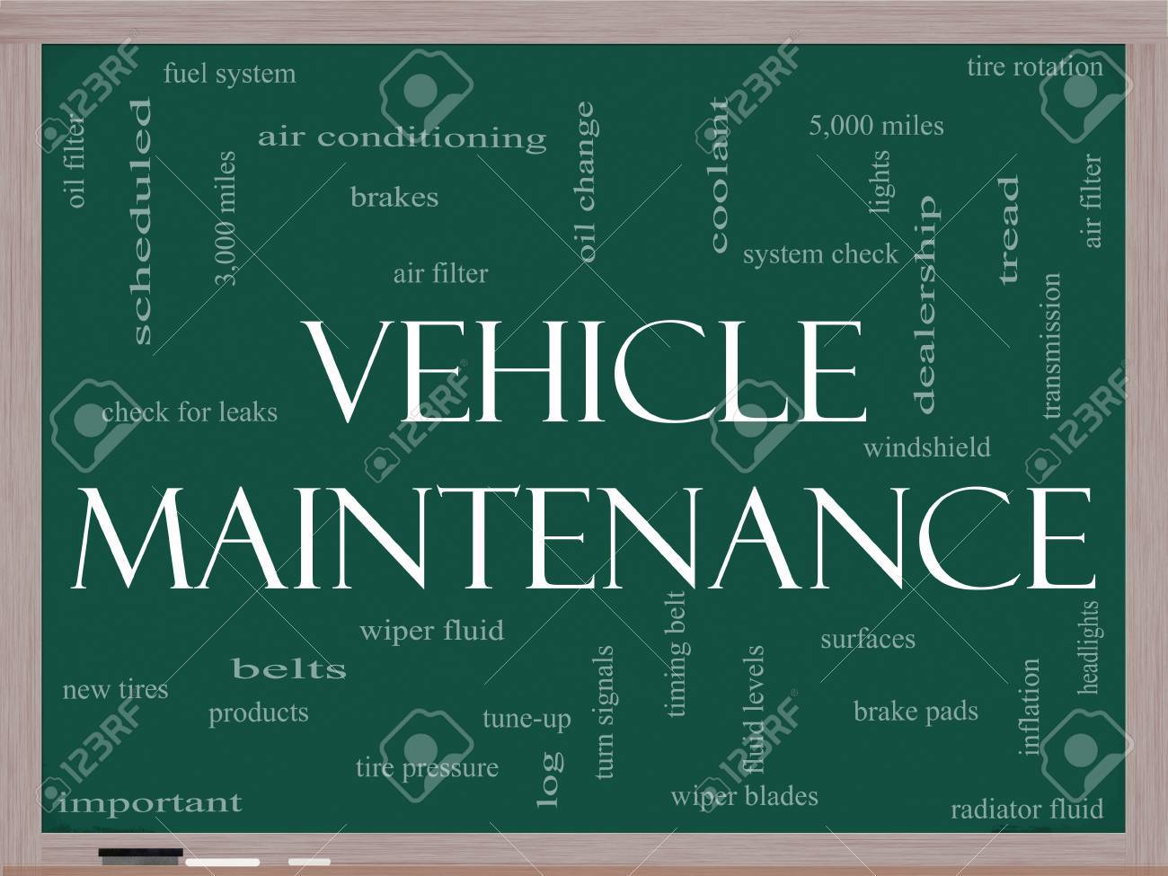 Vehicle Maintenance Word Cloud Concept on a Chalkboard with great terms such as oil change, brakes, tires, lights, coolant and more. Stock Photo - 12336567