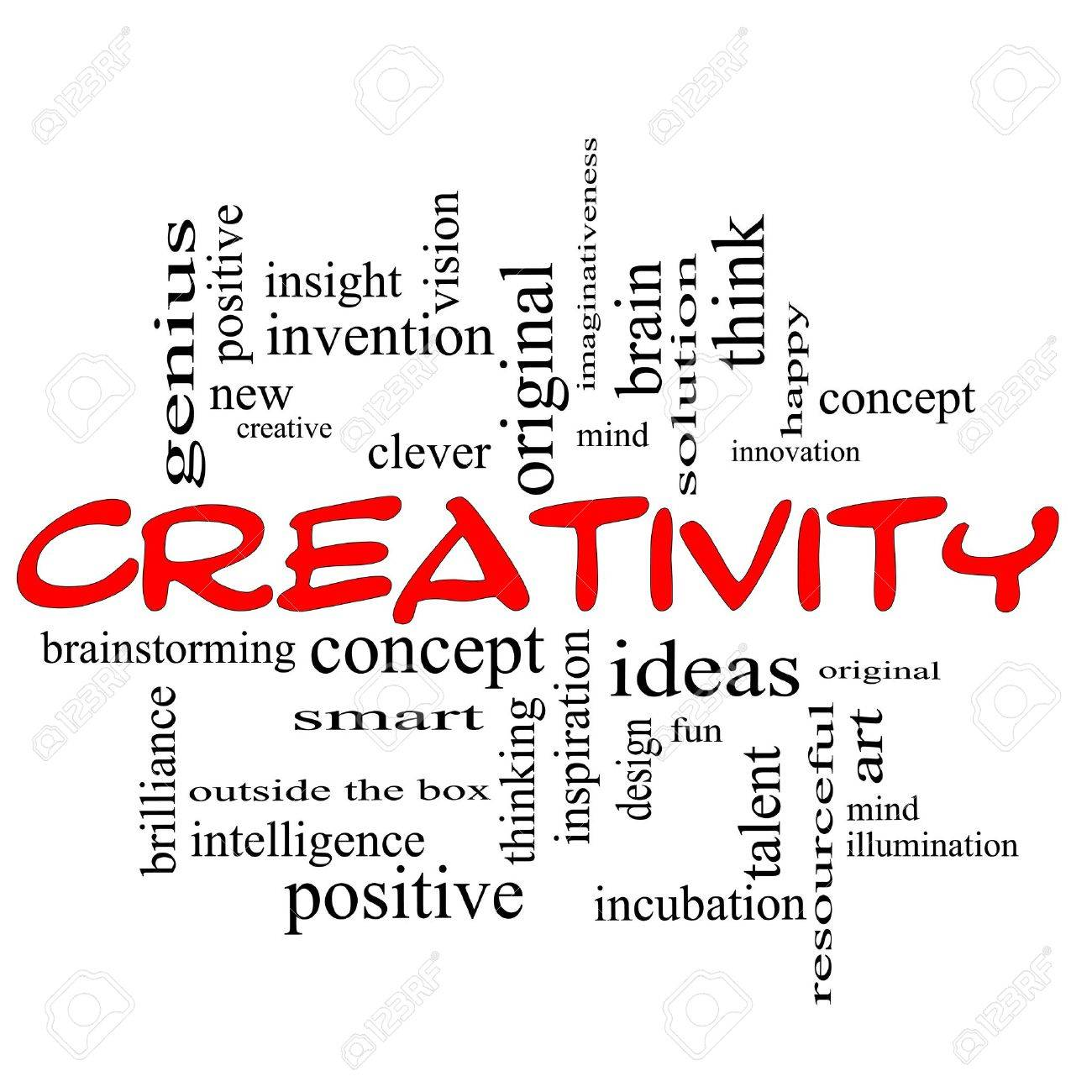 Creativity Word Cloud Concept scribbled in red with great terms such as happy, innovation, fun, incubaton, ideas and more. Stock Photo - 12336543