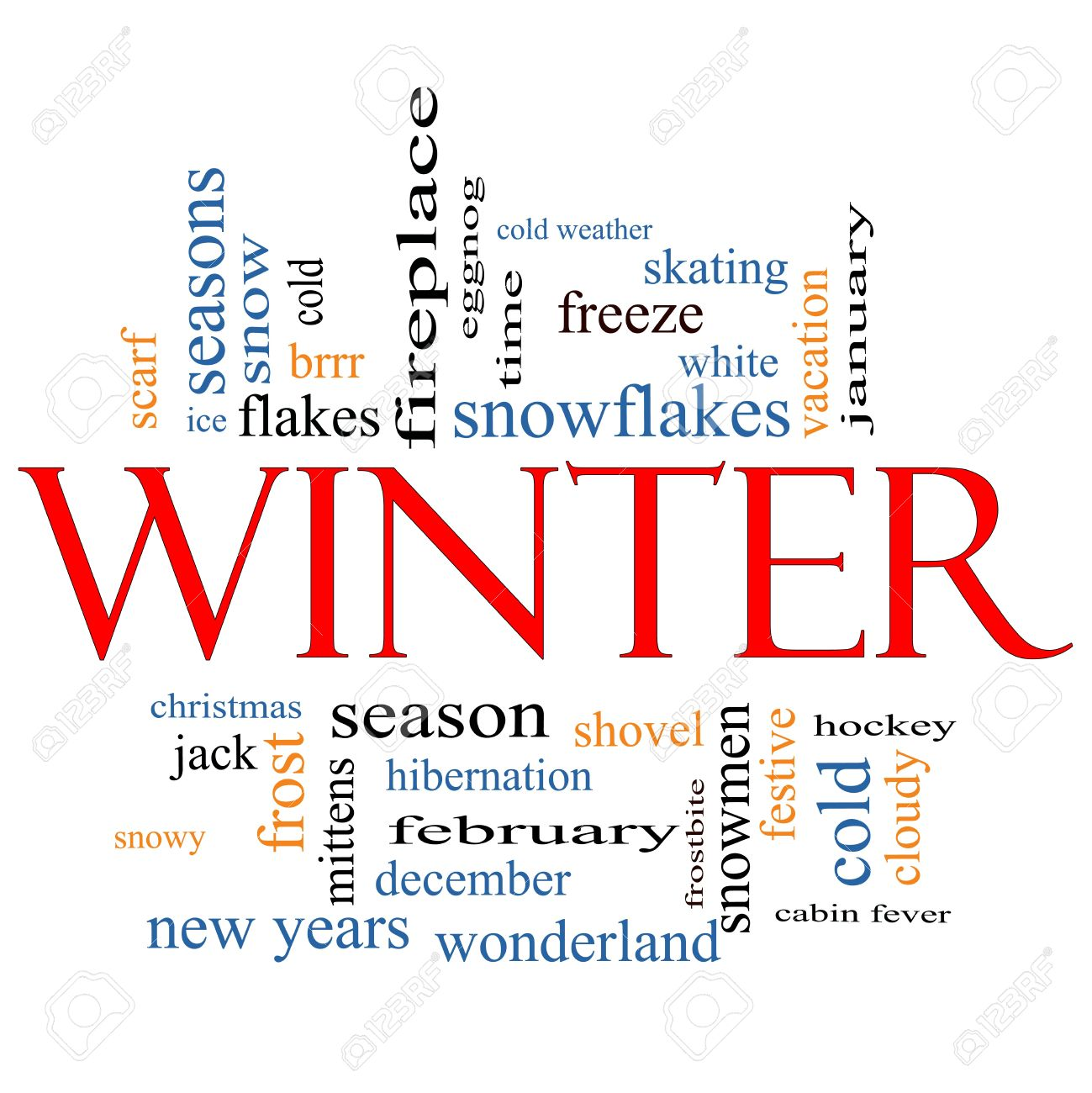 Winter Word Cloud Concept with great terms such as snowmen, eggnog, season, cold, snow, skating, ice, white and more. Stock Photo - 12929496