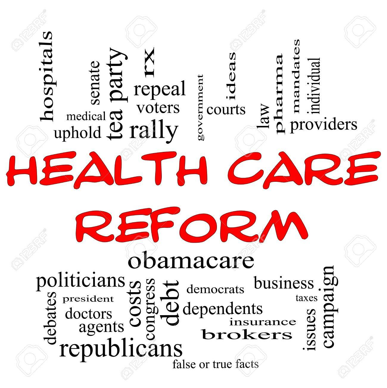 Health Care Reform Word Cloud Concept in Red Capital letters with great terms such as healthcare, politics, courts, insurance, costs, business, repeal and more Stock Photo - 14381178