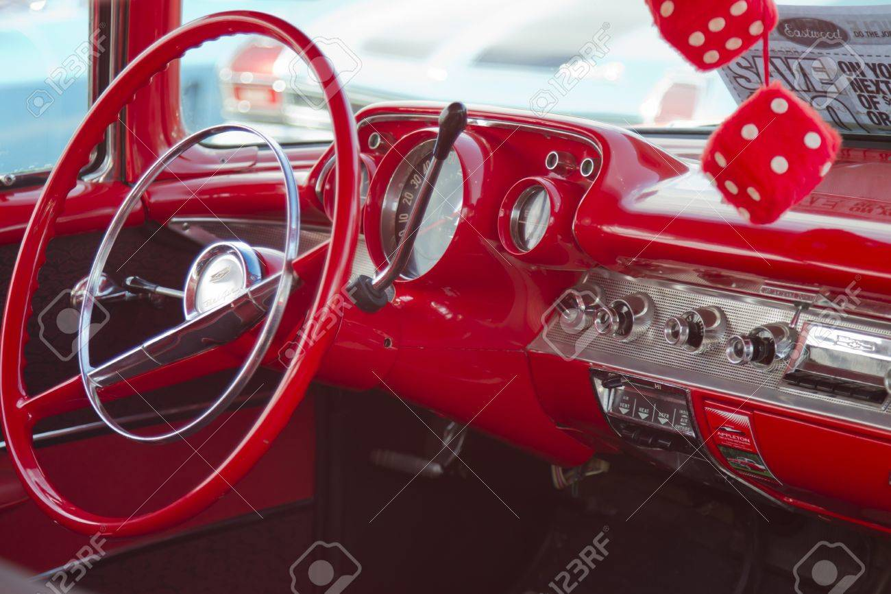 APPLETON, WI - JULY 21: Interior of Red 1957 Chevy Chevrolet Bel Air Two Door at the 18th Annual WVBO Classic Car Show and Cruise at Fox Valley Technical College on July 21, 2012 in Appleton, Wisconsin. Stock Photo - 14542555