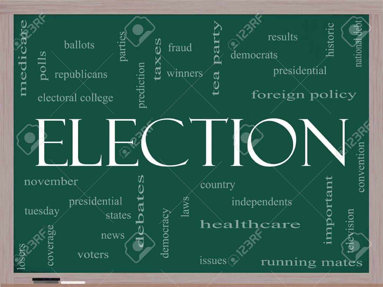 Election Word Cloud Concept on a Blackboard with great terms such as presidential, convention, republicans, deomcrats, winners, issues and more Stock Photo - 14851152