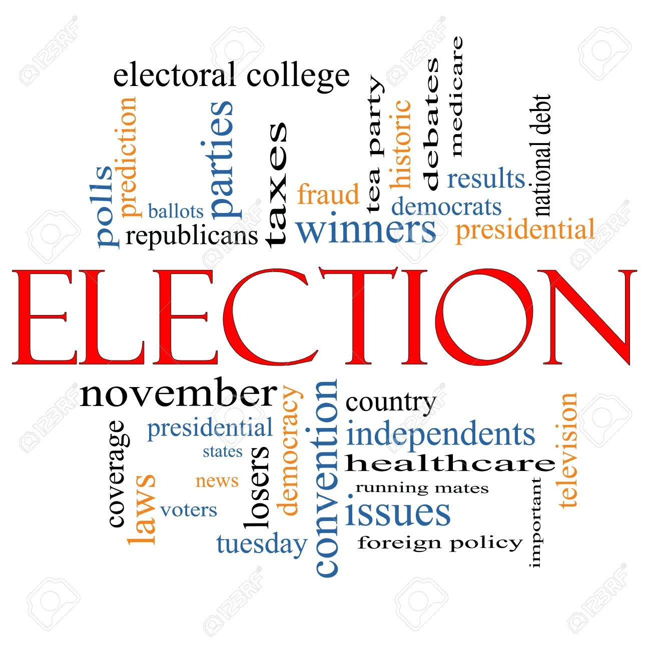 Election Word Cloud Concept with great terms such as voters, debt, presidential, convention, republicans, deomcrats, winners, issues and more Stock Photo - 14851148