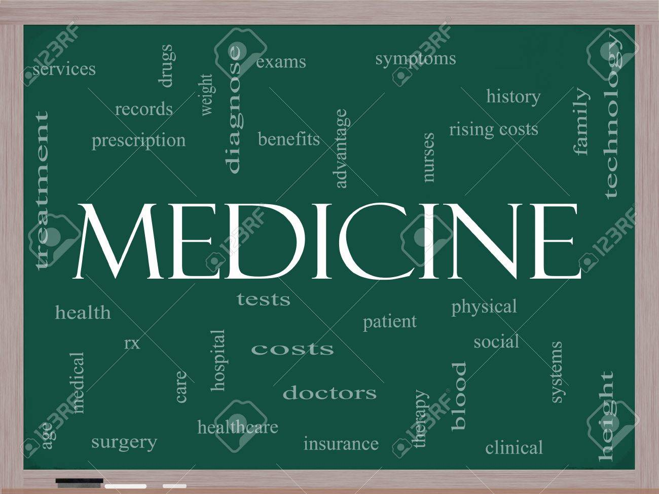 Medicine Word Cloud Concept on a Blackboard with great terms such as exams, symptoms, patient, costs, blood, clinical and more Stock Photo - 14851161