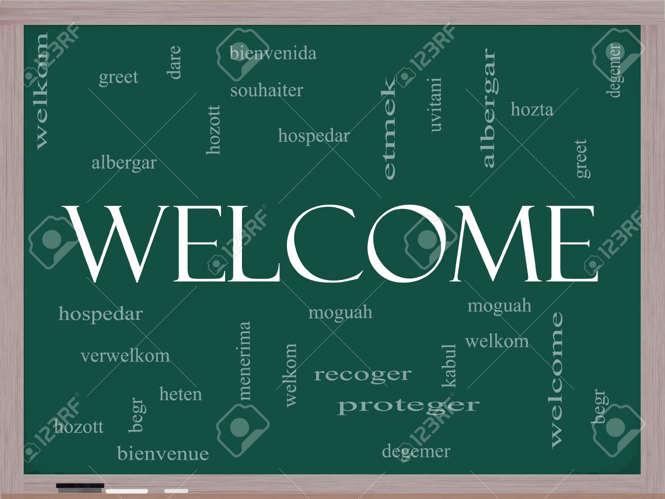 Welcome Word Cloud Concept On A Blackboard With Welcome Greetings