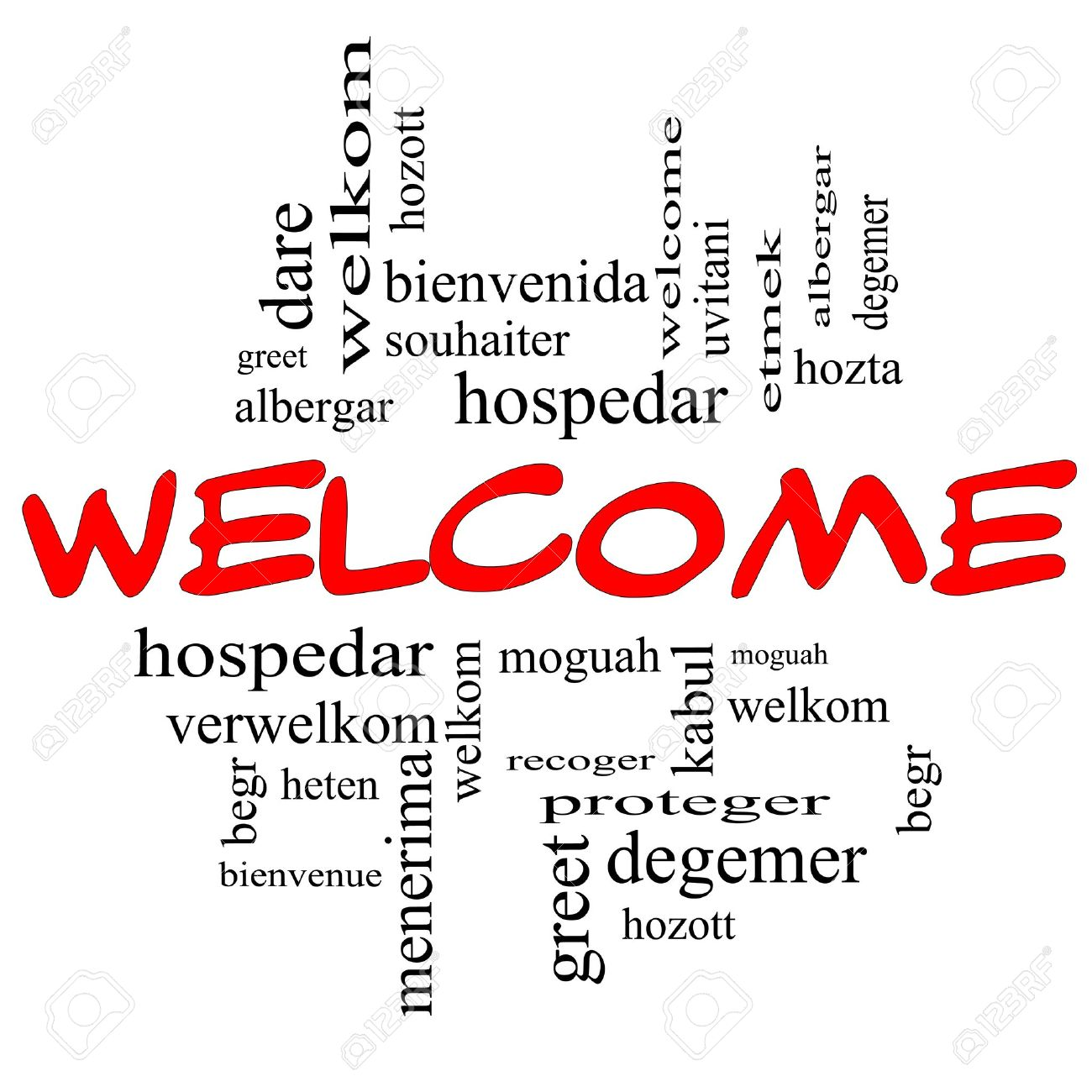 Welcome word cloud concept in red and black letters with welcome stock photo welcome word cloud concept in red and black letters with welcome greetings in different languages such as hozta welkom begr bienvenida and m4hsunfo