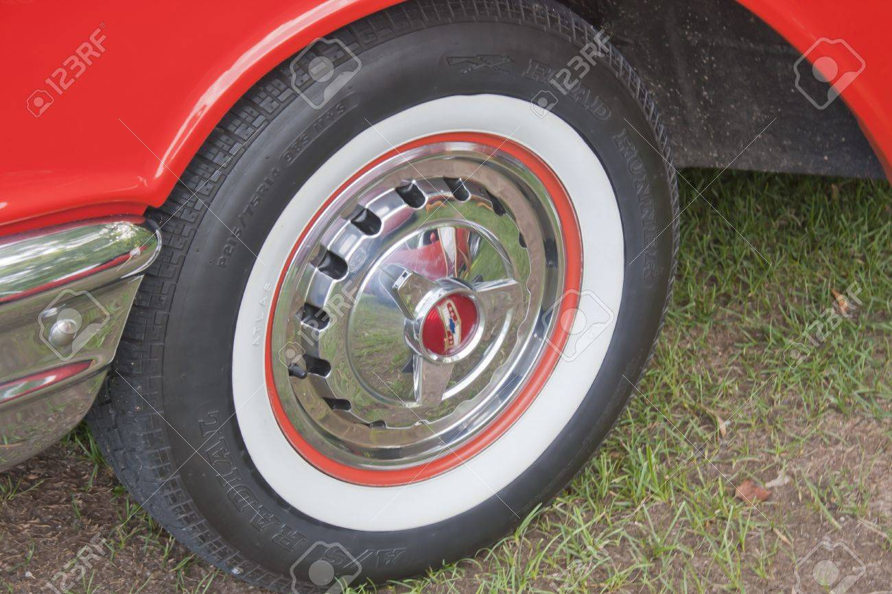 COMBINED LOCKS WI  AUGUST 18 White wall tire of an orange 1957 Chevy