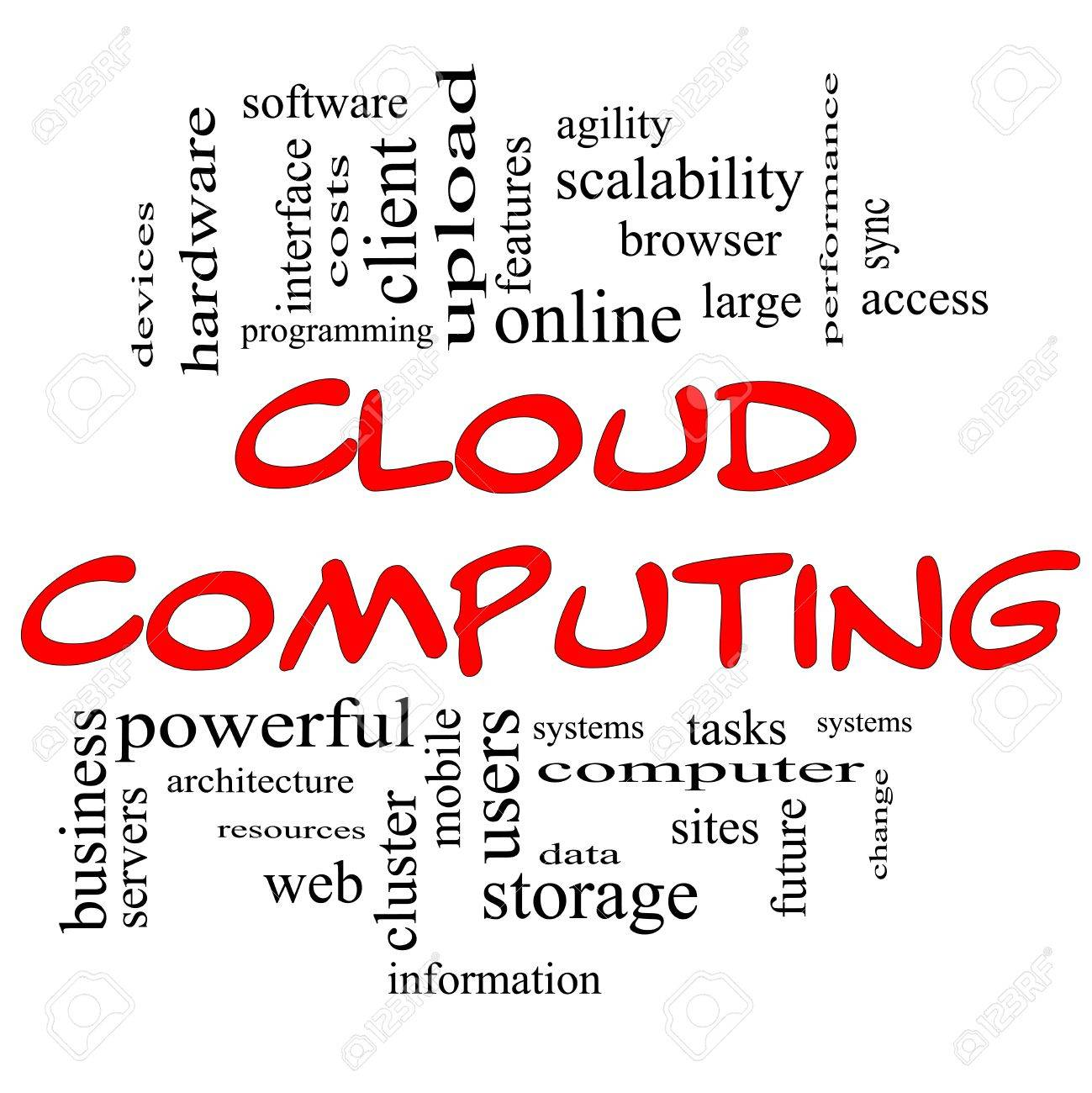 Cloud Computing Word Cloud Concept in red and black letters with great terms such as client, data, information, storage, sync, access, servers and more Stock Photo - 14947271