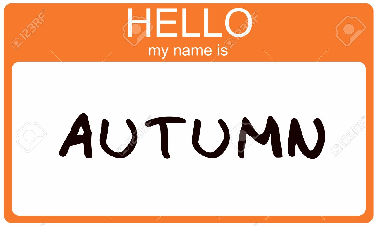 hello my name is autumn name tag sticker in orange seasonal color