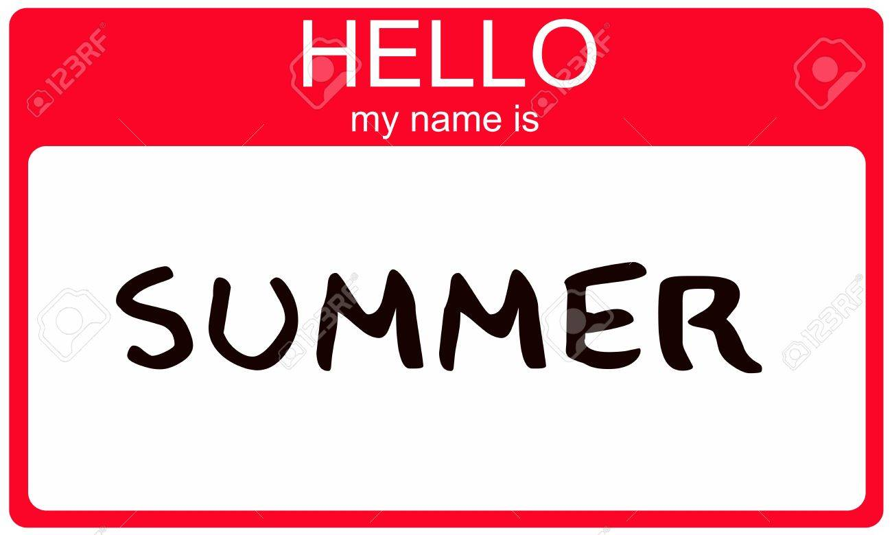 Hello My Name Is Summer Name Tag Sticker In Red Seasonal Color