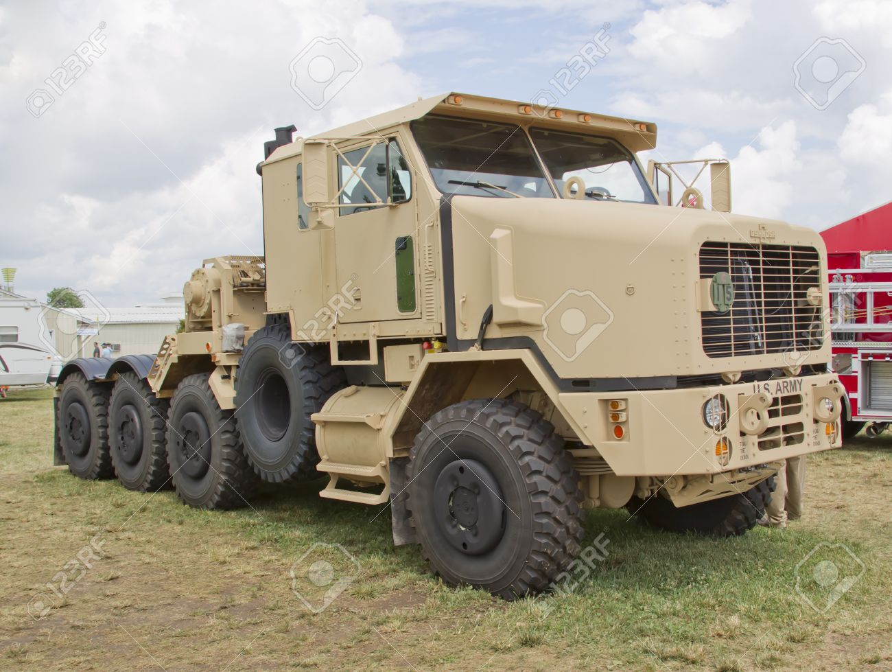 oshkosh wi july 27 front view of an oshkosh corp army truck vehicle