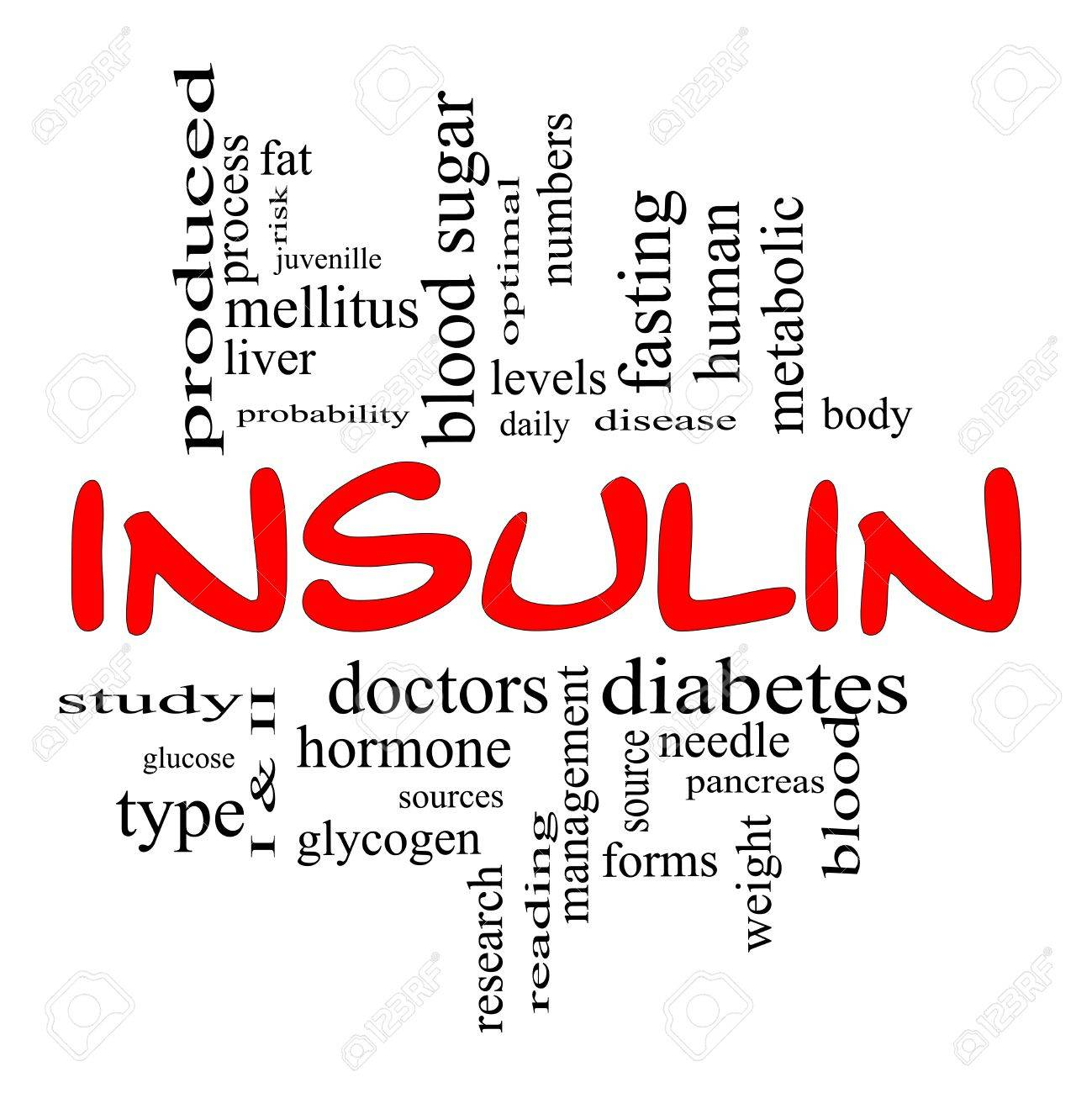 Insulin Word Cloud Concept in Red and Black letters with great terms such as sugar, needles, diabetes, risk, blood, weight, pancreas, source and more. Stock Photo - 14947318