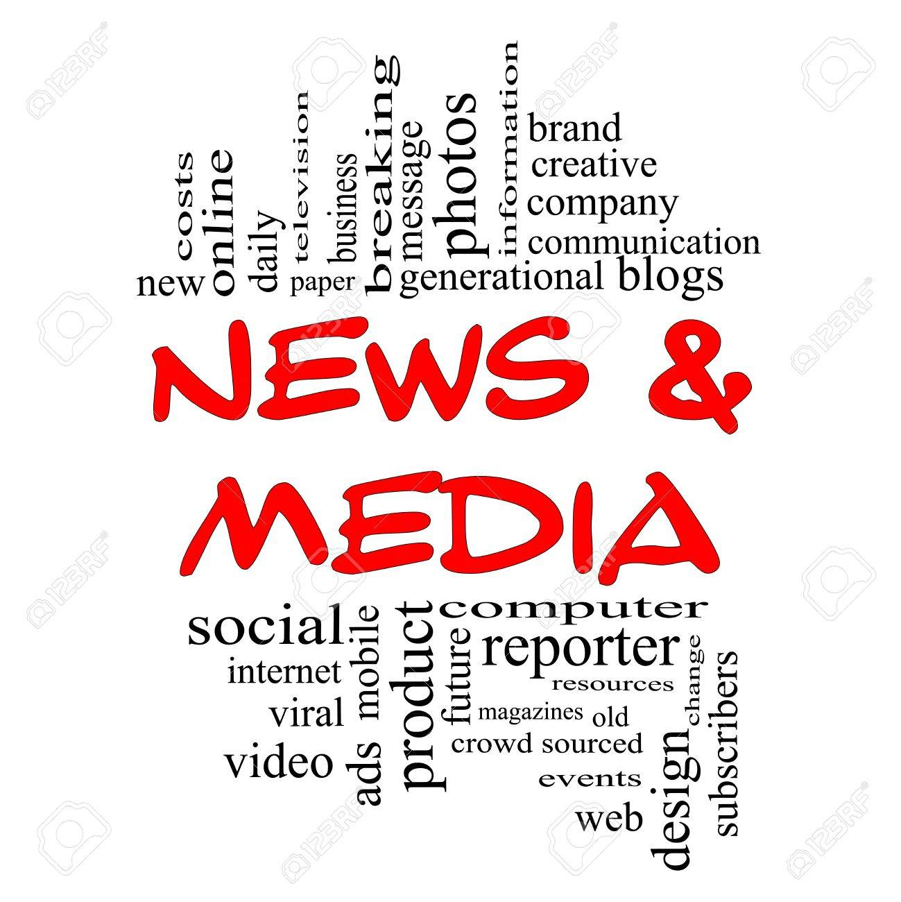 News and Media Word Cloud Concept in red and black letters with great terms such as television, brand, viral, magazines, social, internet, events and more. Stock Photo - 15028345