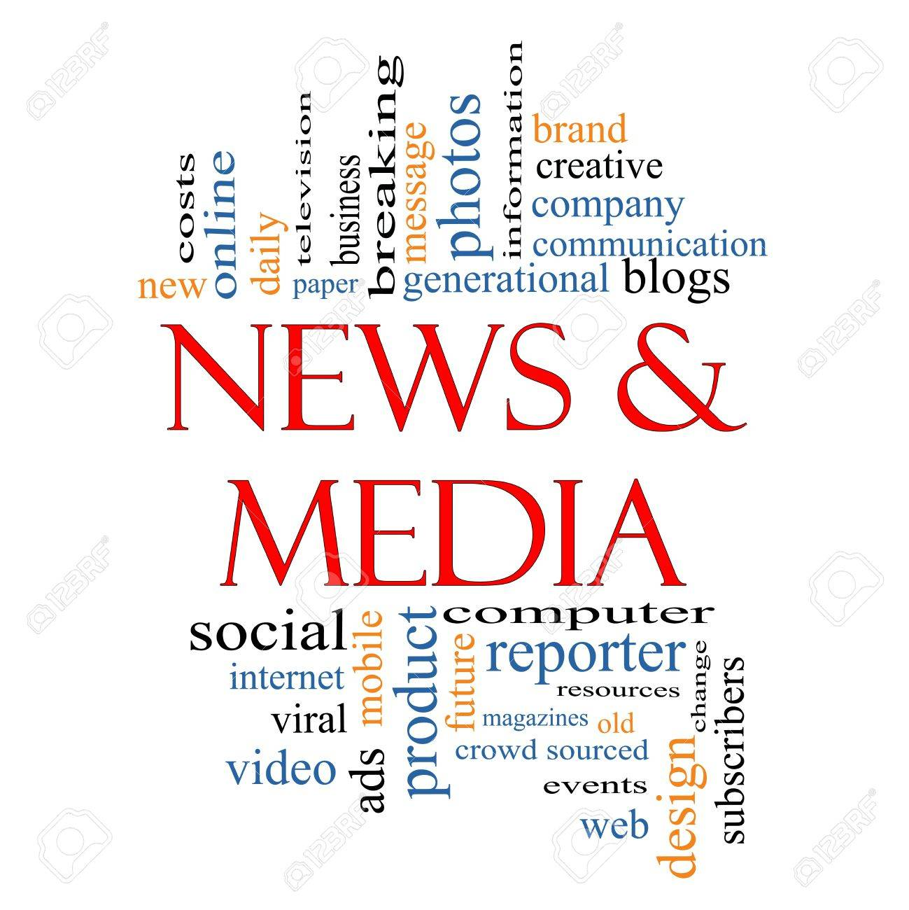 News and Media Word Cloud Concept with great terms such as television, viral, magazines, social, internet, ads, mobile, events and more. Stock Photo - 15028364