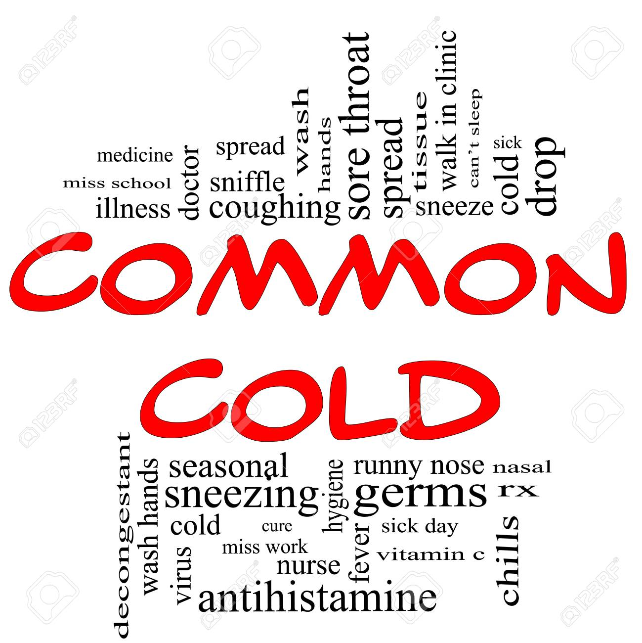 Common Cold Word Cloud Concept in red Stock Photo - 15028400