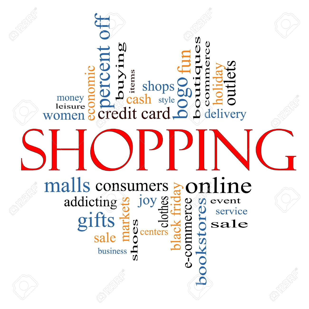 Shopping Word Cloud Concept With Great Terms Such As Sale, Bogo ...