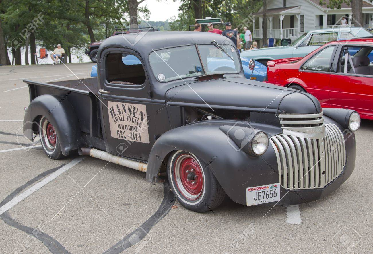 WAUPACA, WI - AUGUST 25: Old Black Chevy Pickup Truck At The.. Stock ...