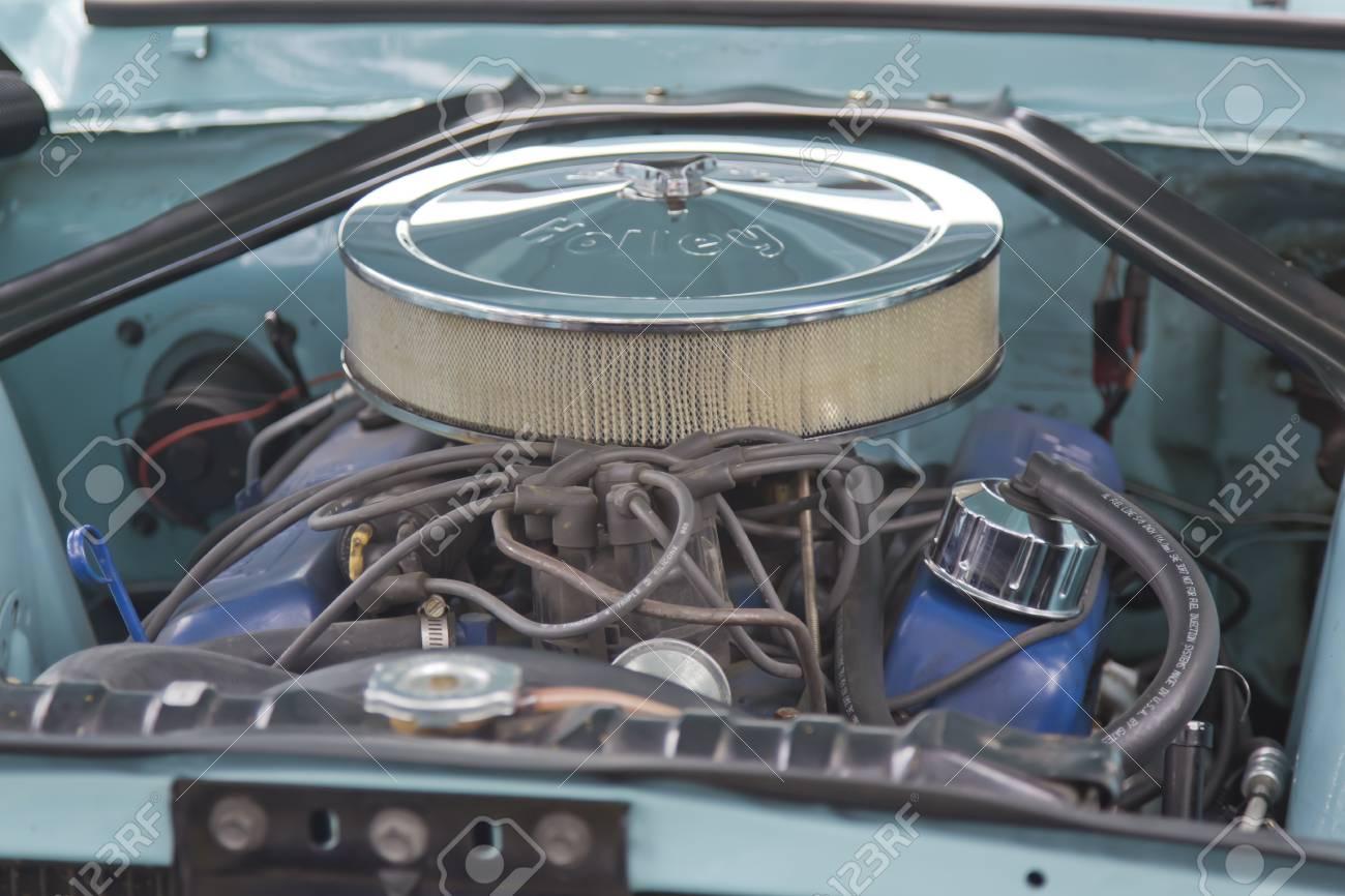 WAUPACA, WI - AUGUST 25: Engine of 1967 Aqua Blue Ford Mustang