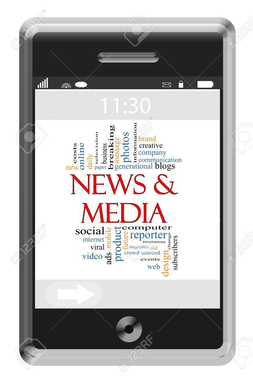 News & Media Word Cloud Concept of Touchscreen Phone with great terms such as social, mobile, internet and more. Stock Photo - 15498152