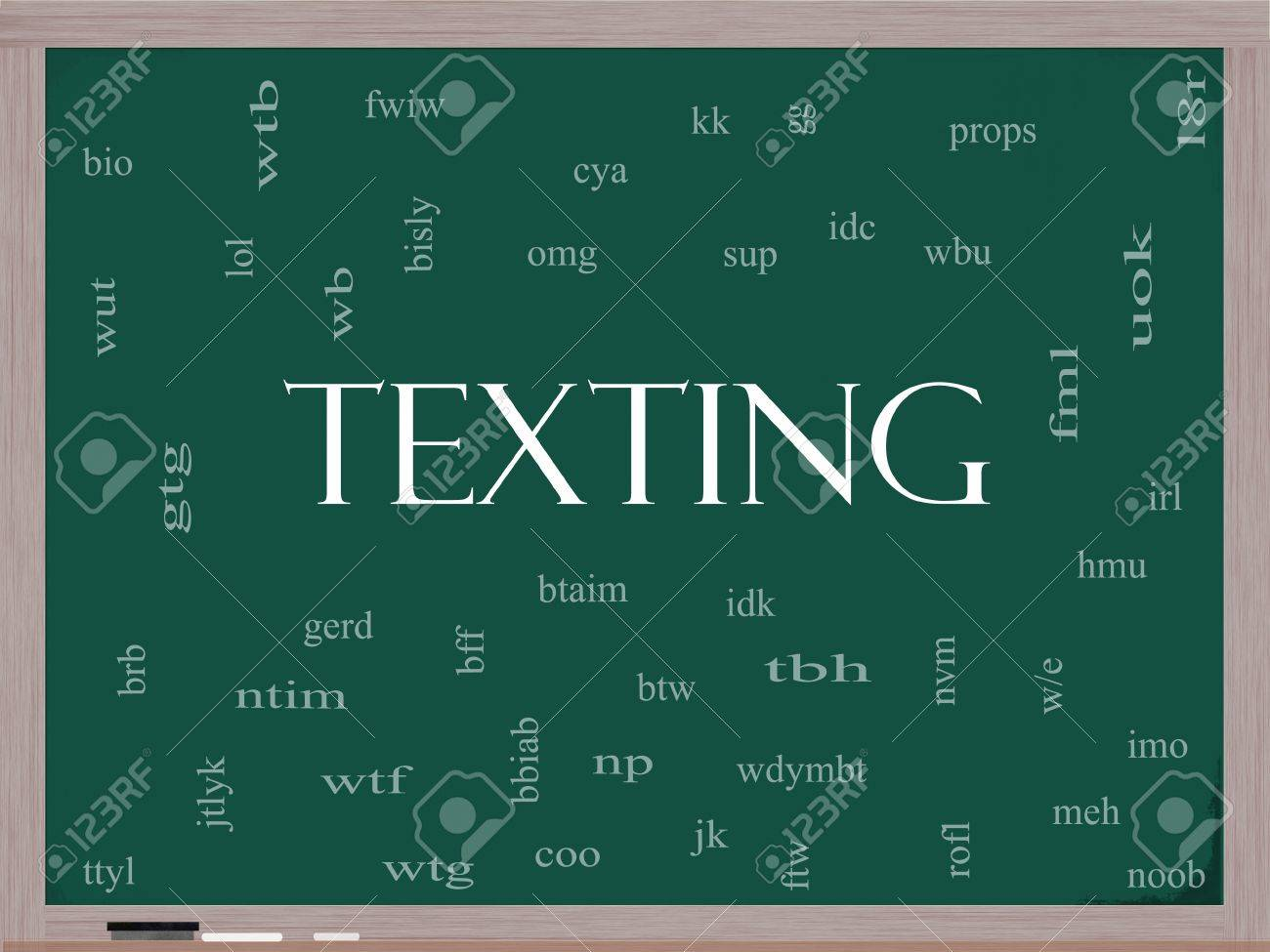Texting Word Cloud Concept on a Blackboard with acronyms for terms such as oh my god, omg, be right back, lol and more. Stock Photo - 15498151