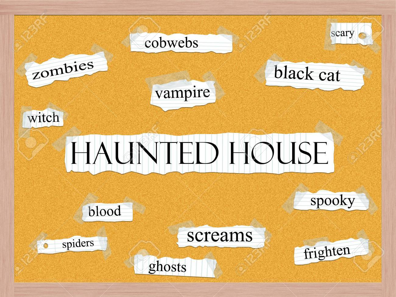 Haunted House Corkboard Word Concept with great terms such as zombies, spooky, screams, blood and more. Stock Photo - 15267970