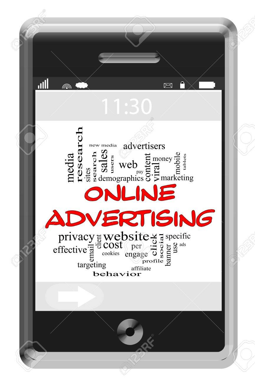 Online Adversiting Word Cloud Concept of Touchscreen Phone with great terms such as viral, website, pay per click and more. Stock Photo - 15516827
