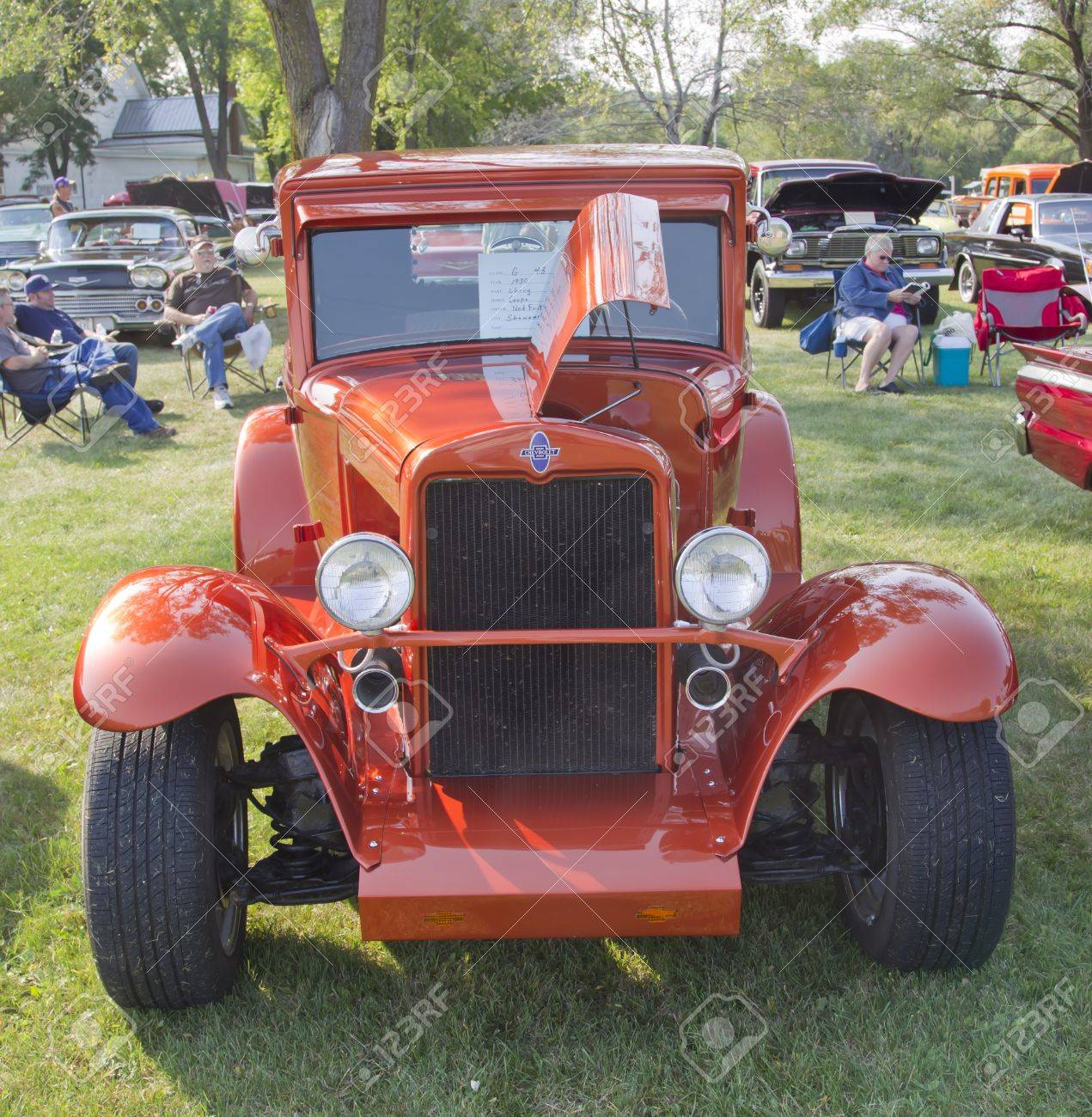 MARION, WI - SEPTEMBER 16: Front of 1930 Orange Chevy Coupe car at the 3rd Annual Not Just Another Car Show on September 16, 2012 in Marion, Wisconsin. Stock Photo - 15318721