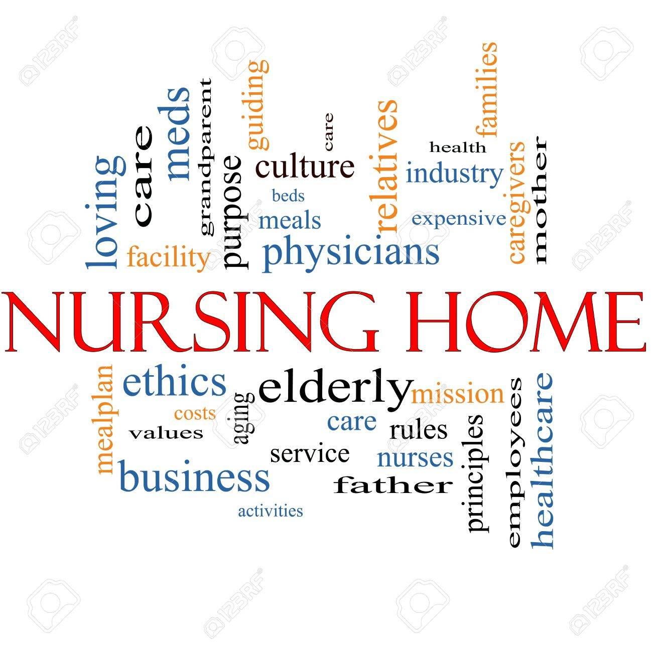 Nursing Home Word Cloud Concept with great terms such elderly, care, loving, aging as and more. Stock Photo - 16375383
