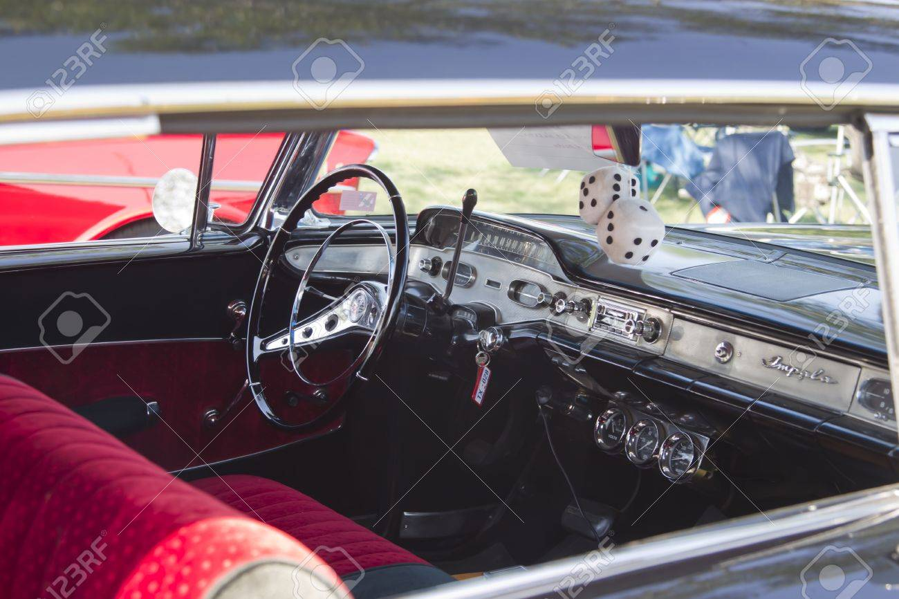 Impala black chevy impala : MARION, WI - SEPTEMBER 16: Interior Of Black 1955 Chevy Impala ...