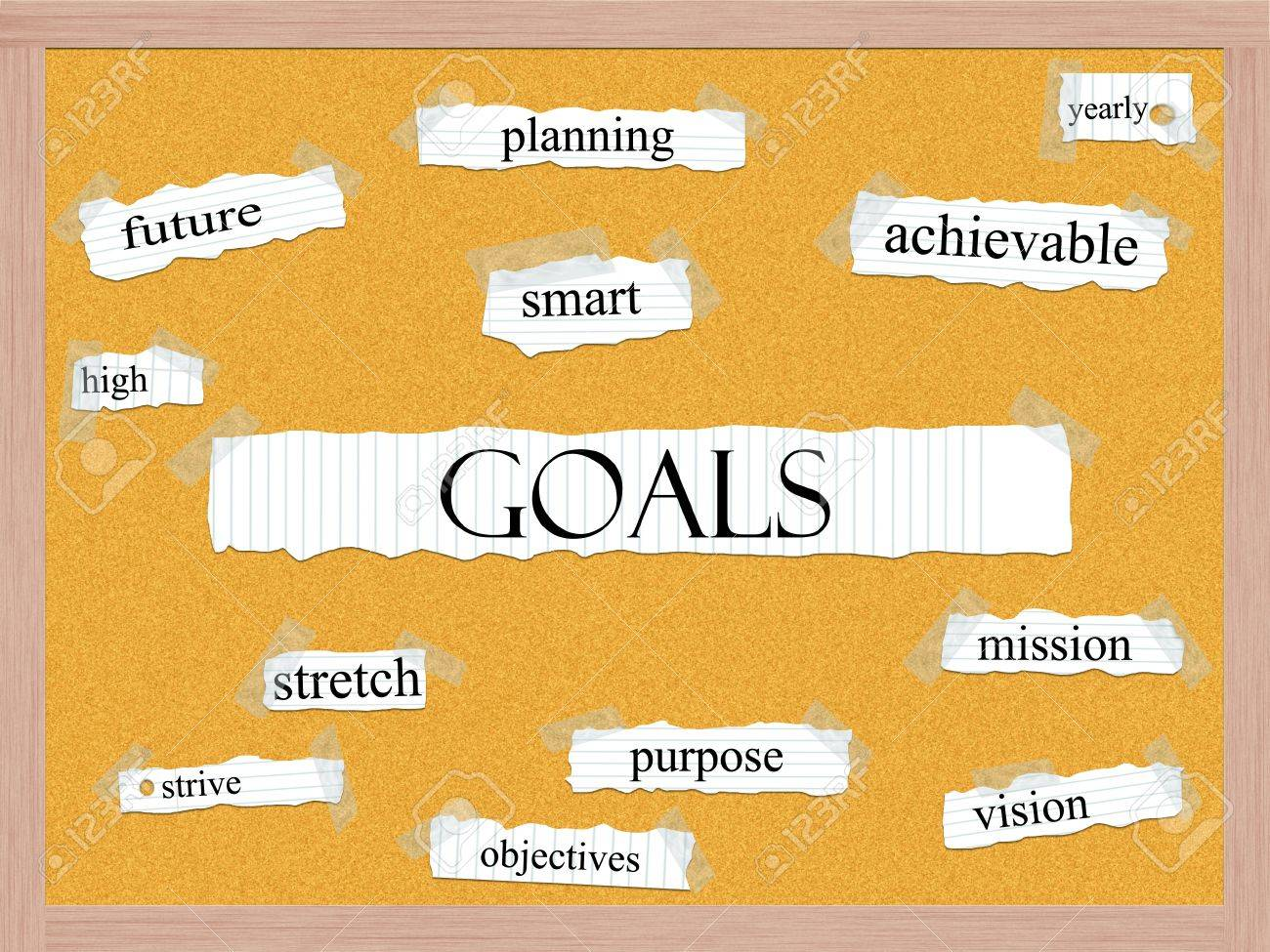 Goals Corkboard Word Concept with great terms such as high, future, smart, planning, yearly and more. Stock Photo - 17455777