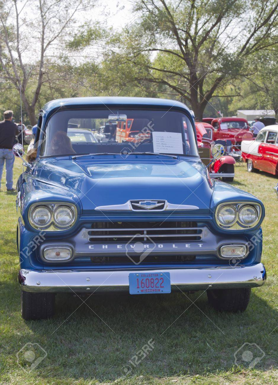 MARION, WI - SEPTEMBER 16: Blue 1958 Chevy Apache truck at the 3rd Annual Not Just Another Car Show on September 16, 2012 in Marion, Wisconsin. Stock Photo - 17523047