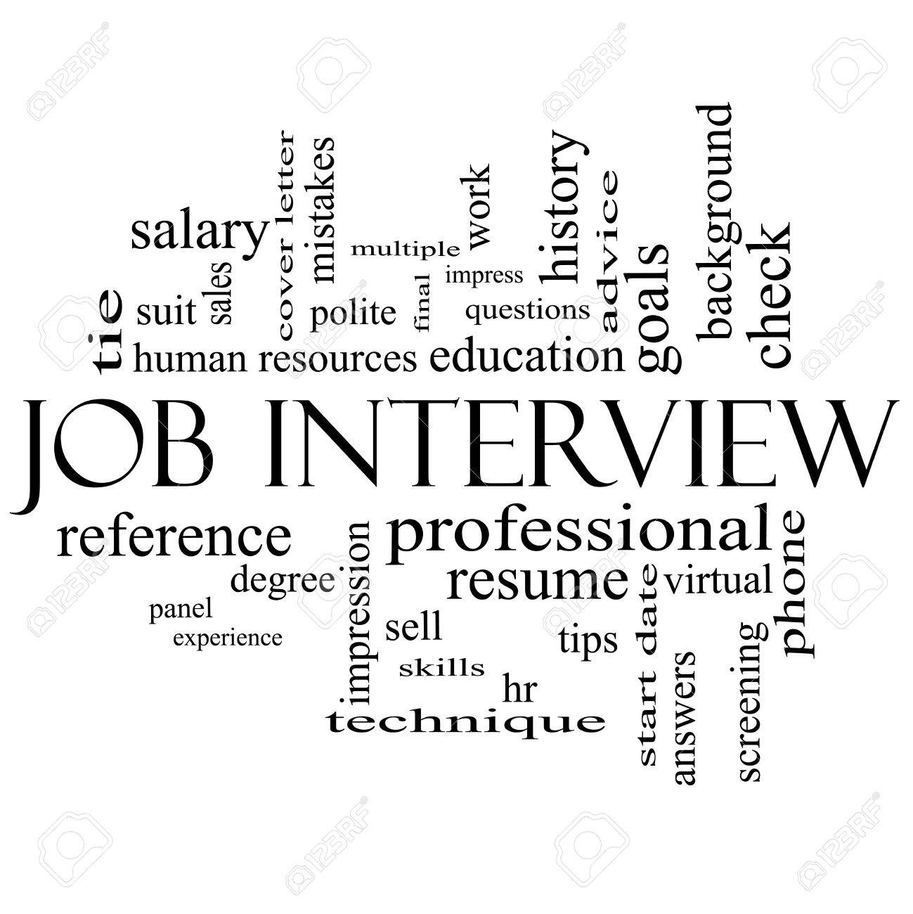job interview word cloud concept in black and white with great terms such as suit
