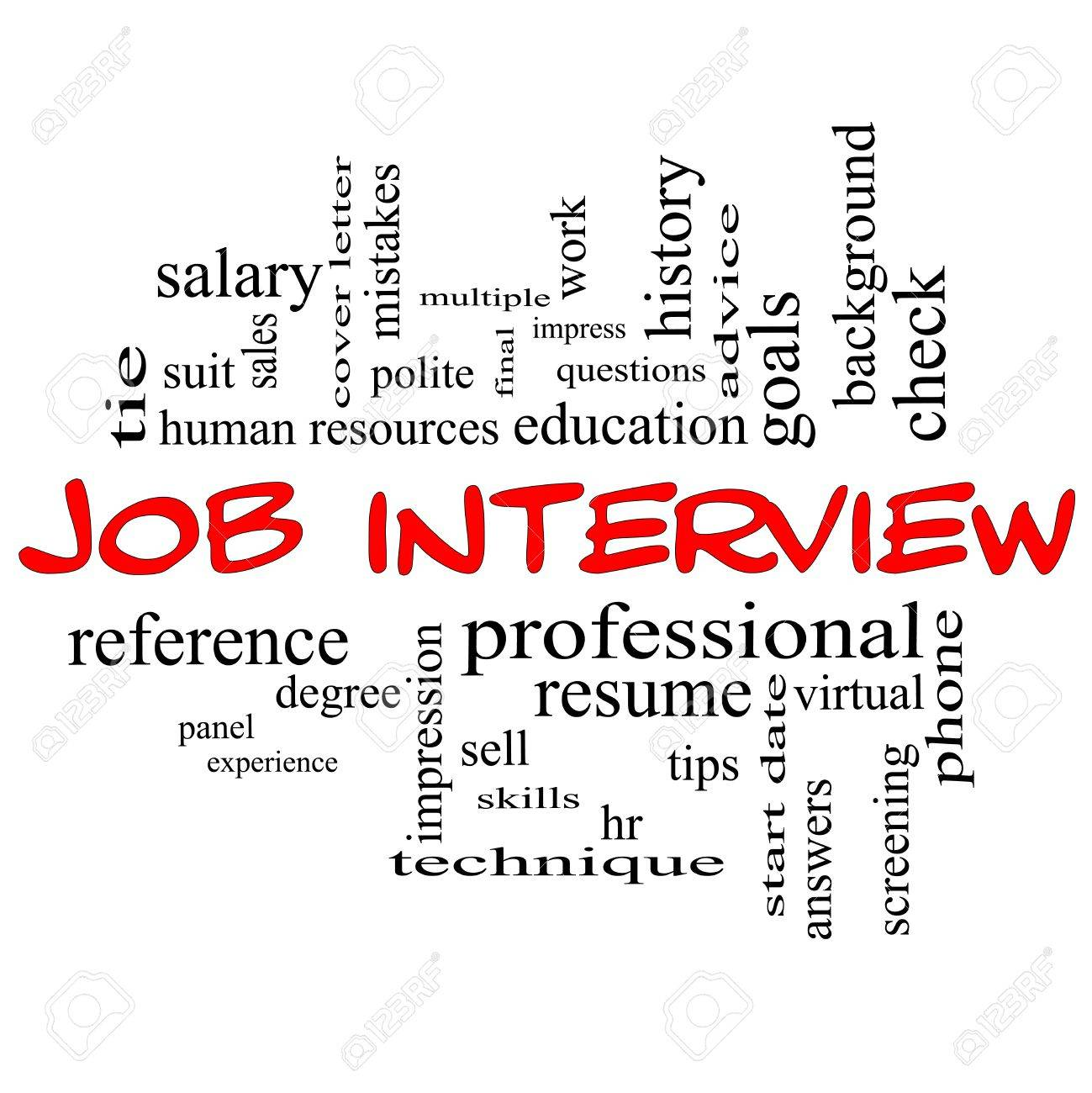 job interview word cloud concept in red caps with great terms