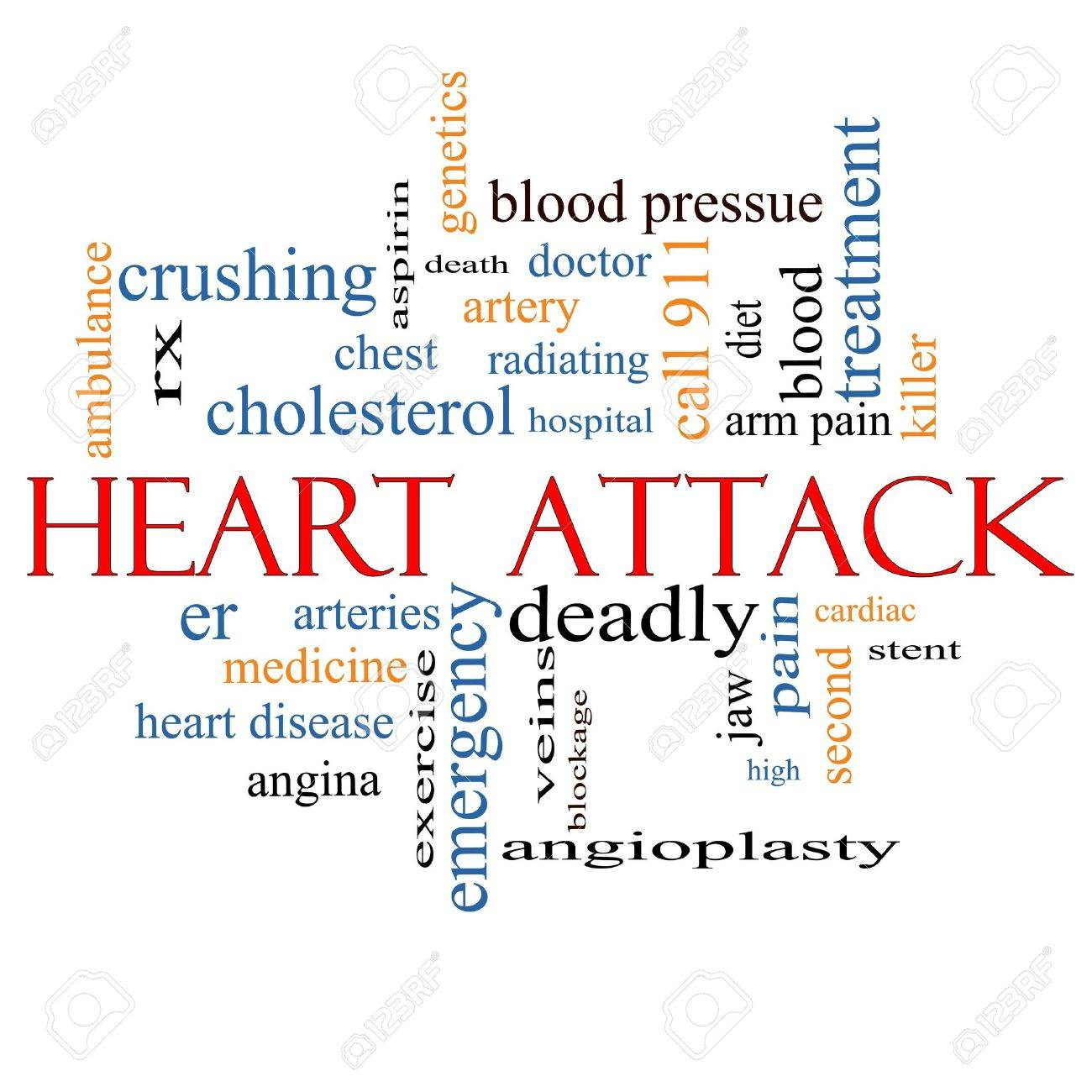 Heart Attack Word Cloud Concept with great terms such as heart disease, rx, artery, doctor and more. Stock Photo - 17685724